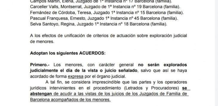 Acords unificació de criteris Jutjats de Família de Barcelona. Exploració NNiA 2021